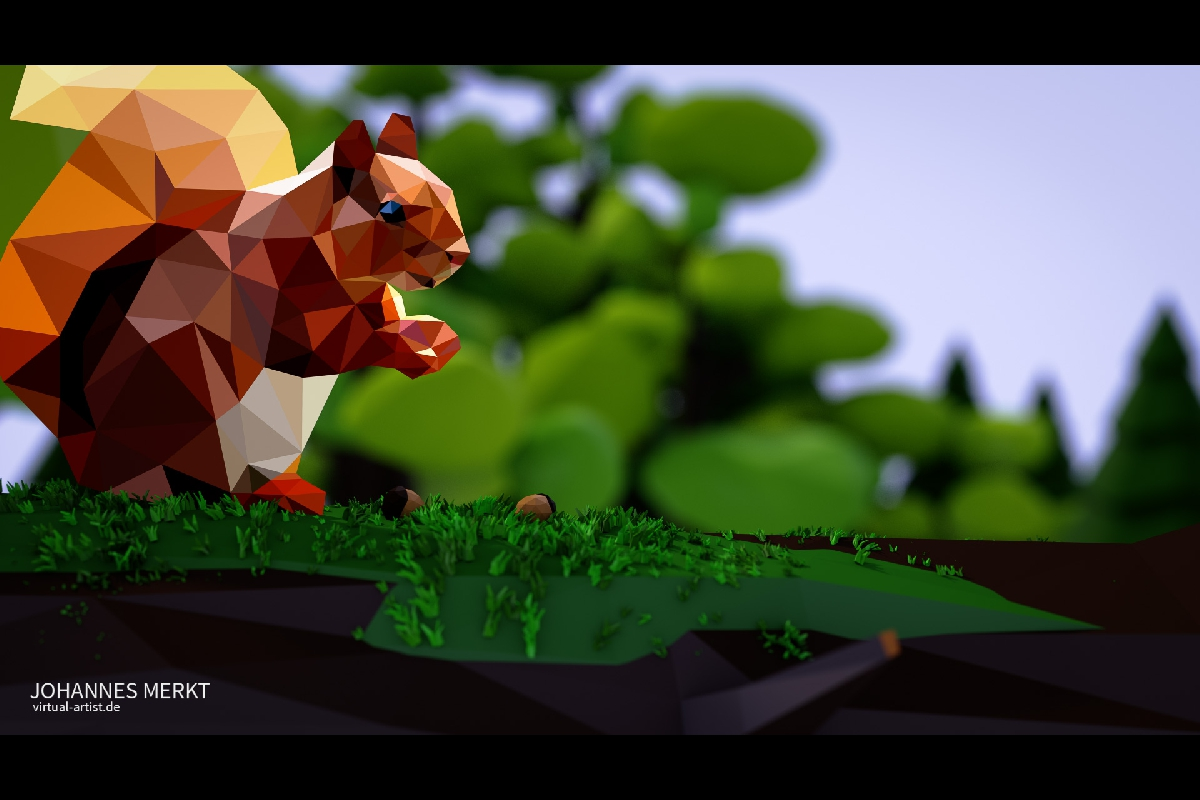 Squirrel Low Poly Still